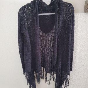 Black lightweight open sweater